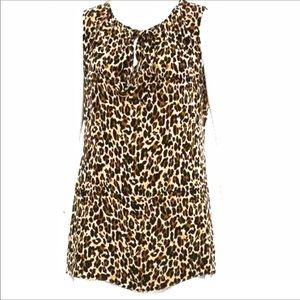 Tory Burch Silk Sleeveless Leopard Print Blouse